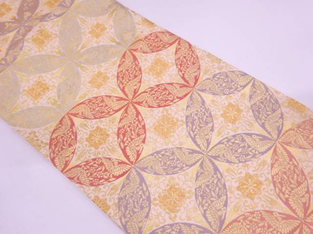 リサイクル 未使用品 唐織七宝繋ぎに花鳥模様織出し袋帯【送料無料】
