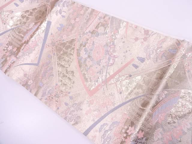 リサイクル 地紙に花車・屋敷風景模様織出し袋帯【送料無料】