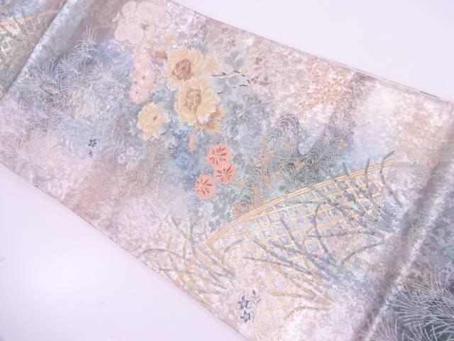 リサイクル 未使用品 引箔流水に牡丹・秋草模様織出し袋帯【送料無料】