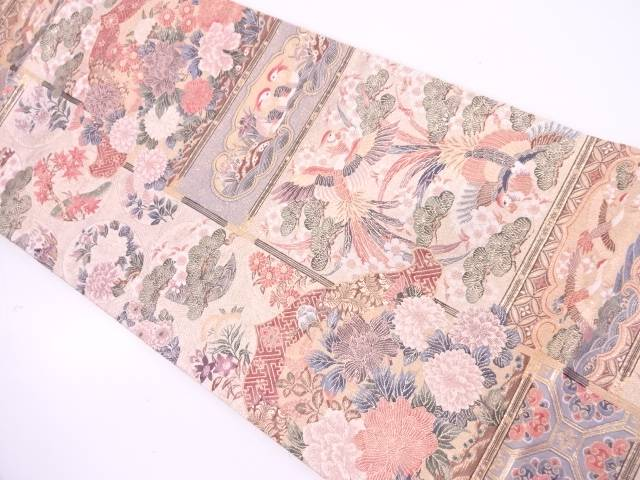 リサイクル 未使用品 花鳥模様織出し袋帯【送料無料】