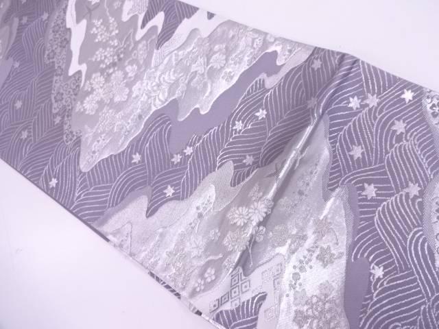 リサイクル 未使用品 波に花鳥模様織出し袋帯【送料無料】