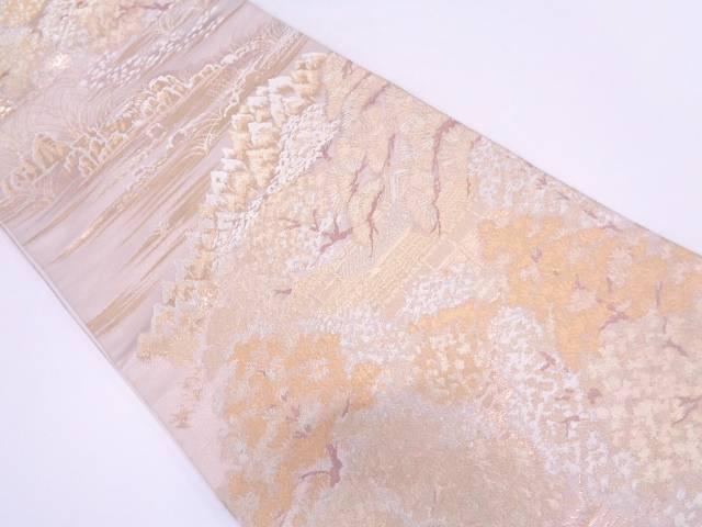 リサイクル 純金箔寺院風景模様織出し袋帯【送料無料】
