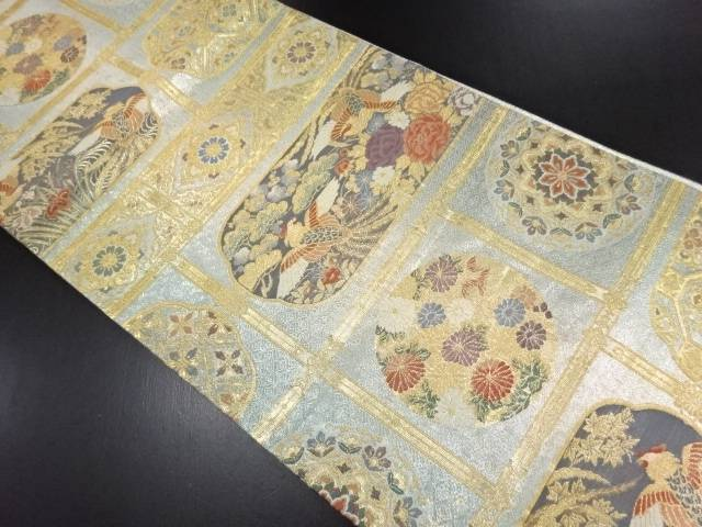 リサイクル 金糸天井柄に花鳥模様織り出し袋帯【送料無料】