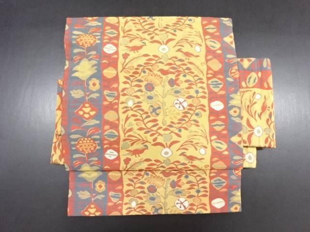 リサイクル 縞に花鳥模様織り出し作り帯【送料無料】
