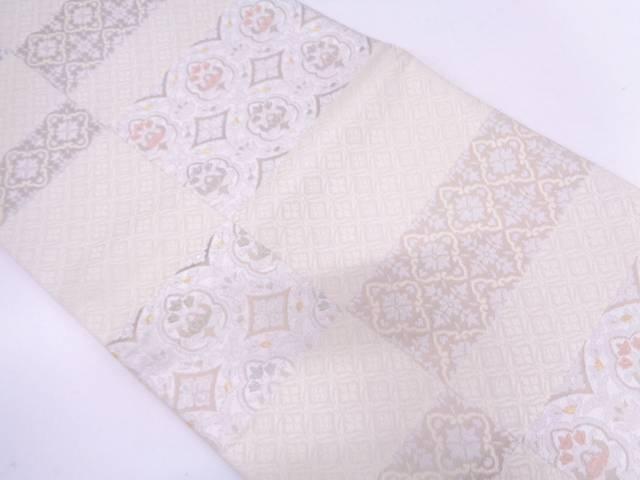 【セール30%オフ】リサイクル 市松に花模様織出し袋帯【送料無料】