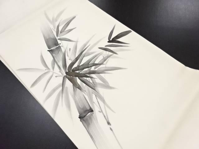 リサイクル 作家物 塩瀬手描き竹笹模様名古屋帯【送料無料】
