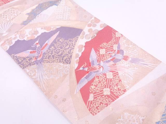 リサイクル 極楽鳥に花・古典柄模様織出し袋帯【送料無料】