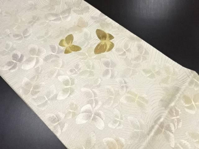 リサイクル 金彩波に蝶模様袋帯【送料無料】