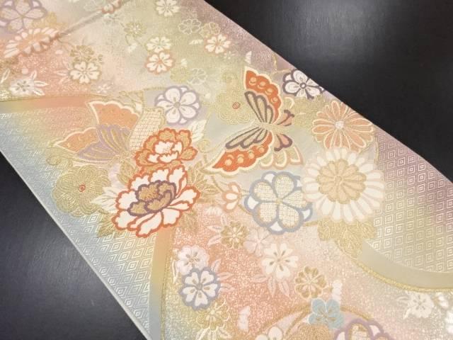 リサイクル 本金丸紋に花蝶模様織り出し袋帯【送料無料】