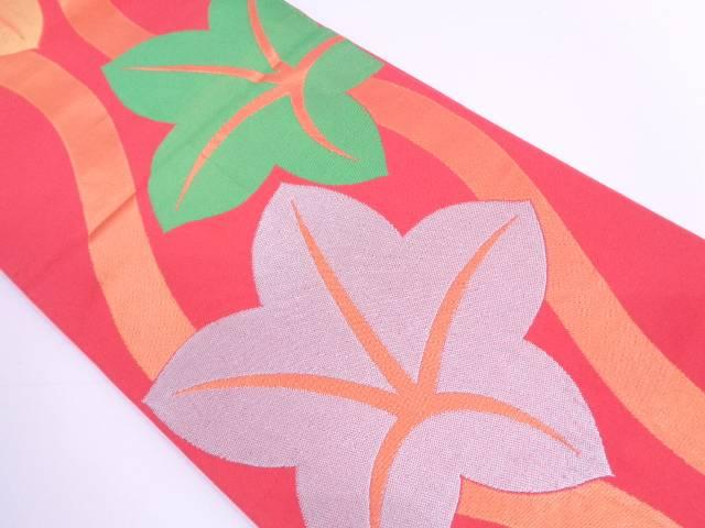 【セール30%オフ】リサイクル 織悦製 立涌に楓模様織出し全通袋帯【送料無料】