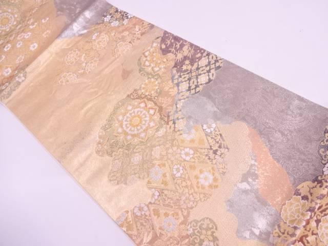 リサイクル 引箔雲取りに華紋模様織出し袋帯【送料無料】