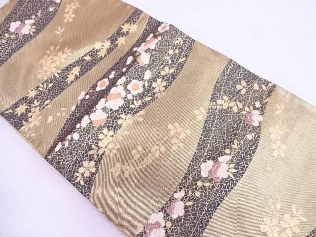 リサイクル 梅・桜模様織出し袋帯【送料無料】