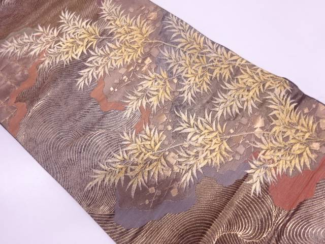 リサイクル 未使用品 波に竹笹・箔散らし模様織出し袋帯【送料無料】