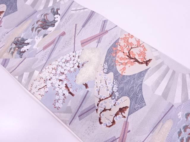 リサイクル 扇に枝花模様織出し袋帯【送料無料】