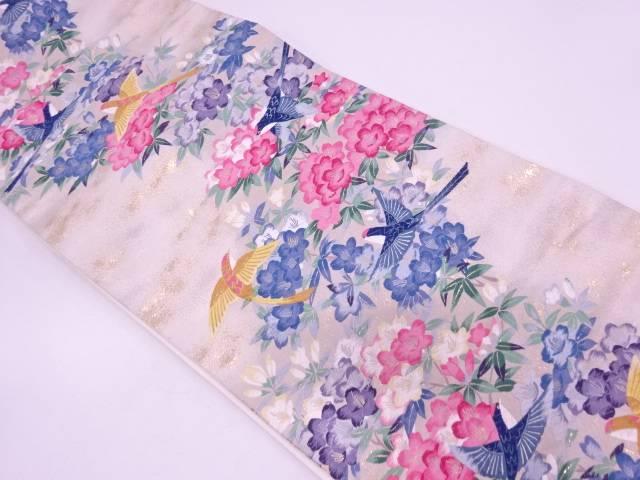 リサイクル 純金箔花鳥模様織出し袋帯【送料無料】