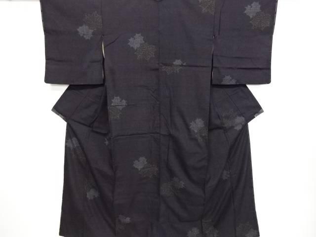 リサイクル 重要無形文化財本場結城紬葉模様織り出し着物【送料無料】