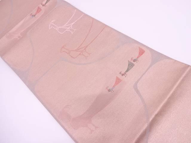 【セール30%オフ】リサイクル 未使用品 鳥模様織出し袋帯【送料無料】