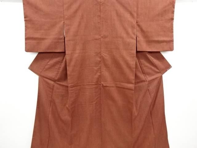 リサイクル 木目模様織り出し手織り節紬着物【送料無料】
