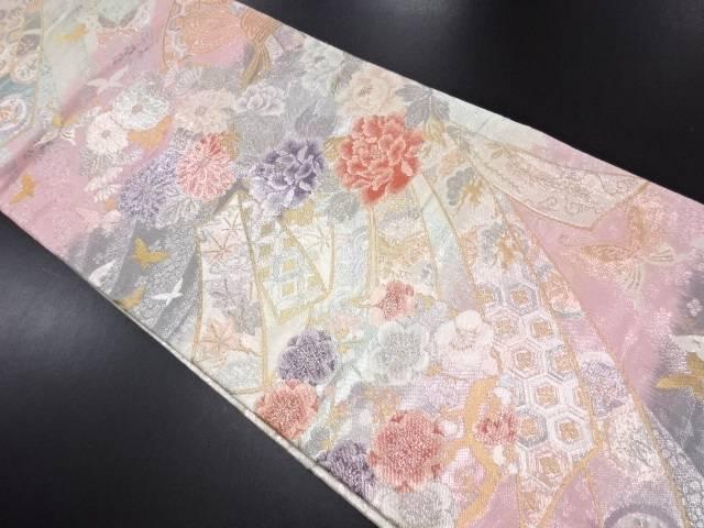 リサイクル 銀糸熨斗に牡丹・枝梅・蝶模様織り出し全通袋帯【送料無料】