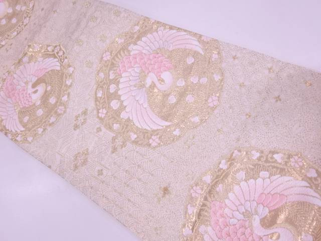 リサイクル 純金箔24K絵皿に孔雀・草花模様織出し袋帯【送料無料】