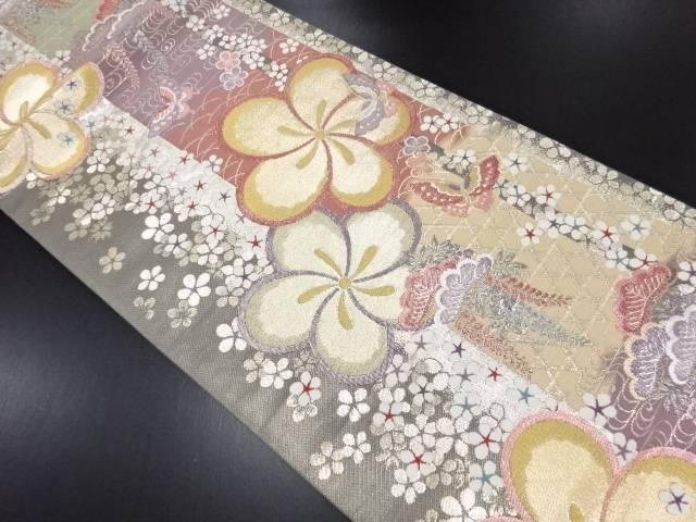 リサイクル ねじり花に松・藤・蝶模様織り出し袋帯【送料無料】