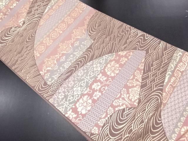 リサイクル 金糸地紙に花更紗・波模様織り出し袋帯【送料無料】