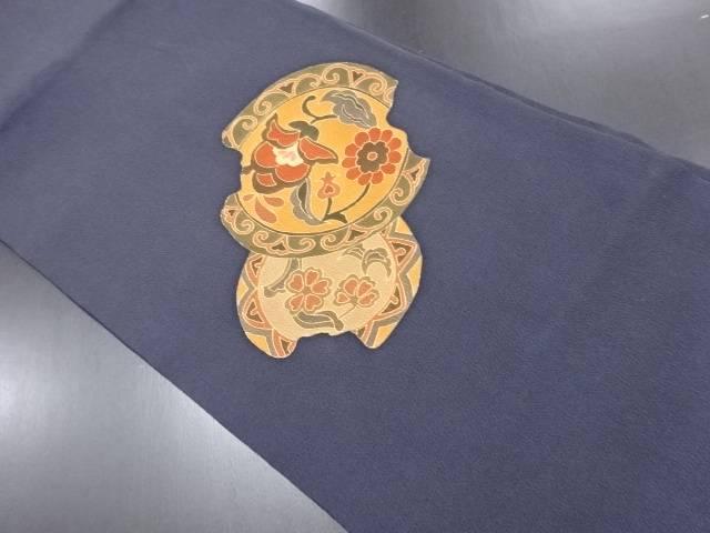リサイクル 縮緬地割れ絵皿に唐花模様刺繍名古屋帯【送料無料】
