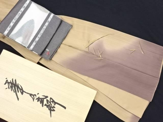リサイクル 藤林徳扇作 金彩笹の葉模様訪問着・袋帯セット【送料無料】
