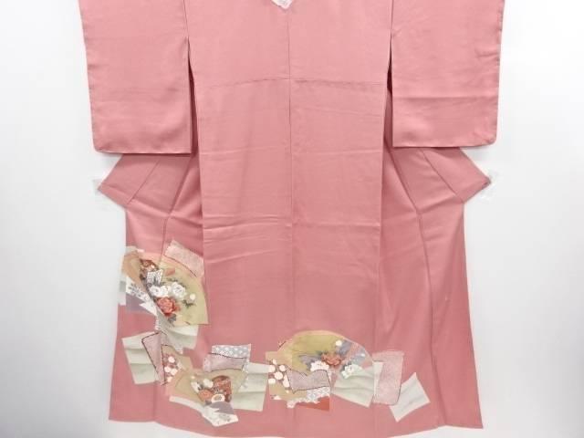 リサイクル 未使用品 作家物 金彩 地紙に牡丹・御所車模様一つ紋色留袖【送料無料】