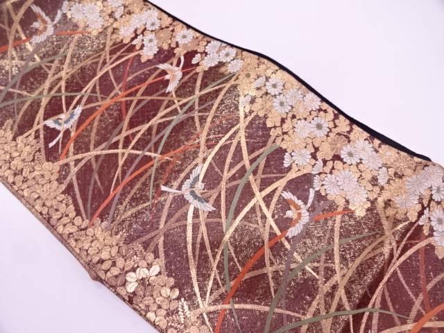 リサイクル 未使用品 本漆箔芝草に萩・花鳥模様織出し袋帯【送料無料】