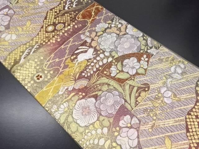 リサイクル 辻ヶ花に兎模様織り出し袋帯【送料無料】