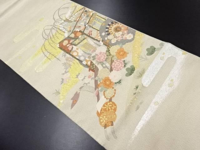 リサイクル 明綴れ 御所車に菊・枝垂れ柳模様織り出し袋帯【送料無料】