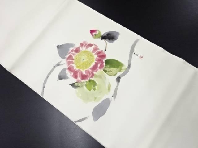 リサイクル 作家物 塩瀬手描き枝花模様名古屋帯【送料無料】