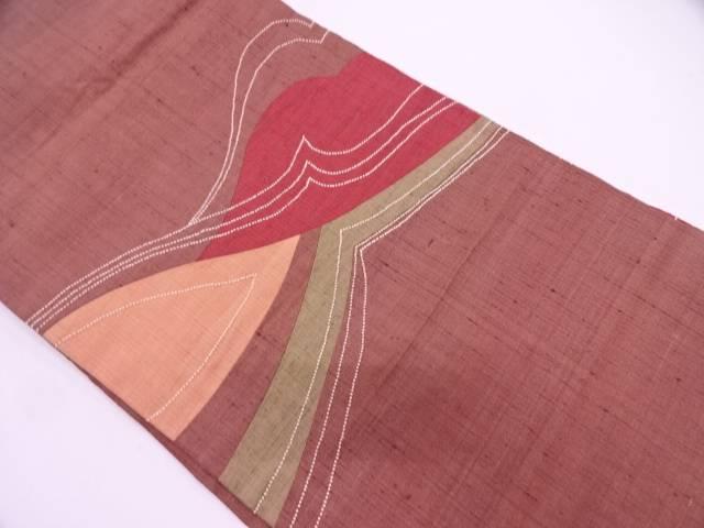 リサイクル 手織り紬切嵌相良刺繍抽象模様名古屋帯【送料無料】