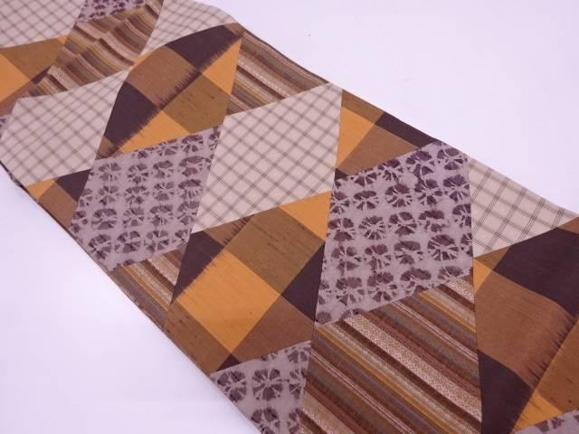 リサイクル 未使用品 手織紬切嵌絞り幾何学模様全通袋帯【送料無料】