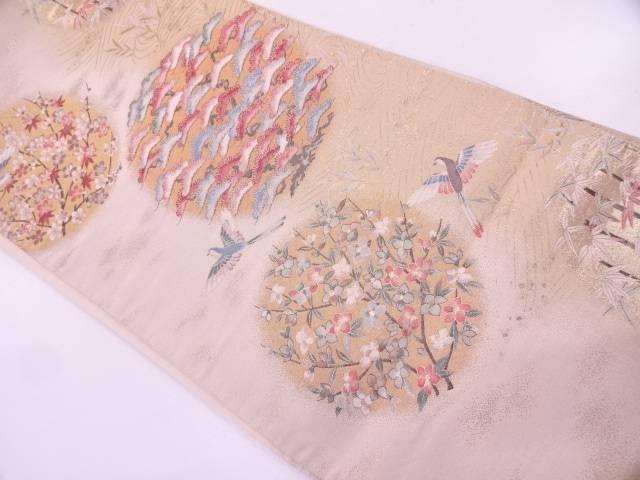 【セール30%オフ】リサイクル 丸紋に花鳥模様織出し袋帯【送料無料】