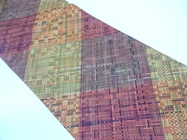 リサイクル リボン織切嵌変わり格子模様袋帯【送料無料】