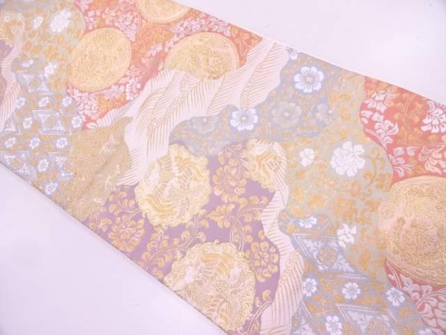 リサイクル 花鳥模様織出し袋帯【送料無料】