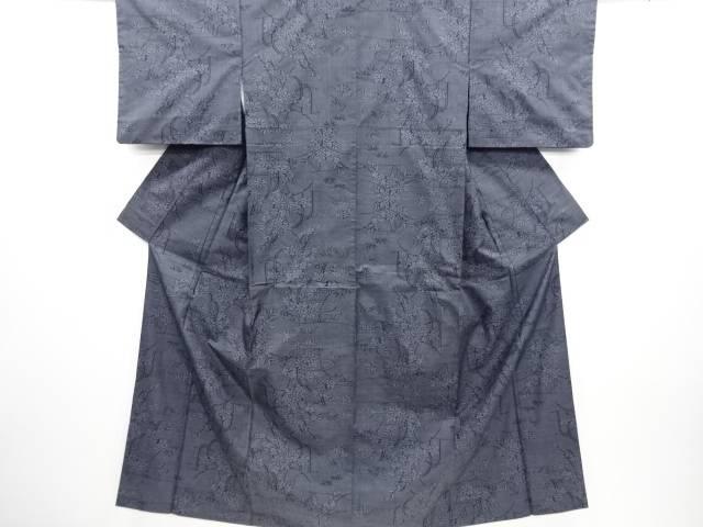 リサイクル 流水に草花模様織り出し本場泥大島紬着物(5マルキ)【送料無料】