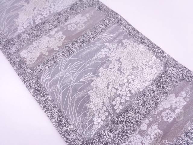 リサイクル 草花模様織出し袋帯 【送料無料】