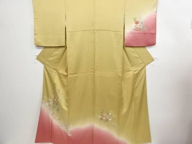 リサイクル 汕頭蘇州刺繍菊梅桔梗模様暈し訪問着【送料無料】