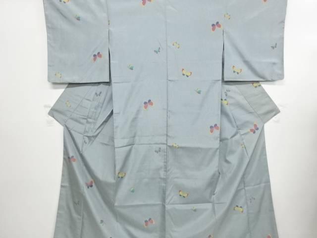 リサイクル 未使用品 蝶模様織り出し米沢紬着物【送料無料】