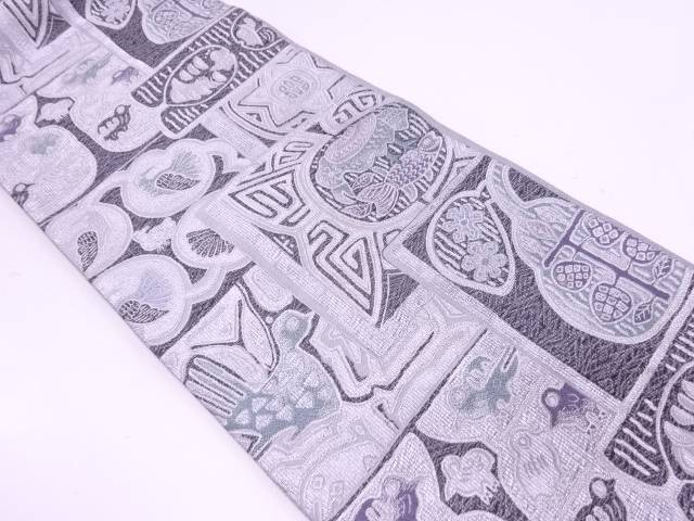 リサイクル 花鳥に魚模様織出し全通袋帯【送料無料】