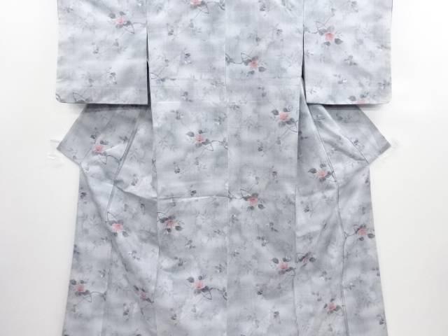 リサイクル 枝花模様織り出し手織り真綿小千谷紬着物【送料無料】