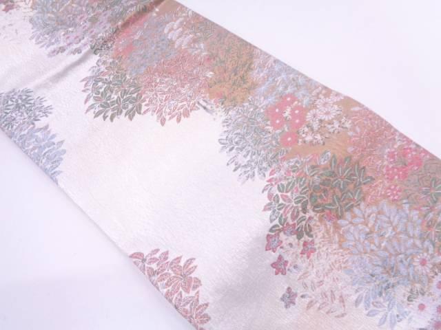 リサイクル 未使用品 となみ織物製 草花模様織出しぼかし袋帯【送料無料】