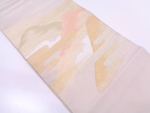 リサイクル 未使用品 綴れ霞に山模様織出し袋帯【送料無料】
