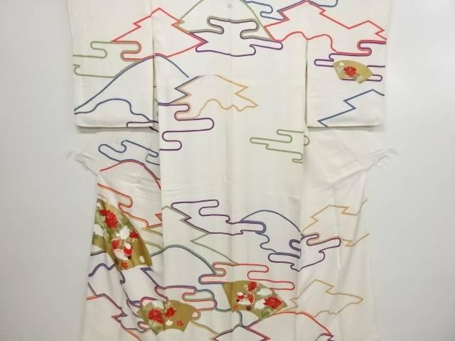 リサイクル 金彩地紙に鴛鴦・牡丹模様一つ紋訪問着【送料無料】