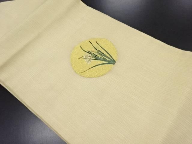 リサイクル 紗本金満月に水仙模様織り出し名古屋帯【送料無料】