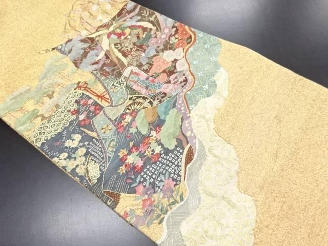 リサイクル 金糸明綴れ花鳥模様織り出し袋帯【送料無料】