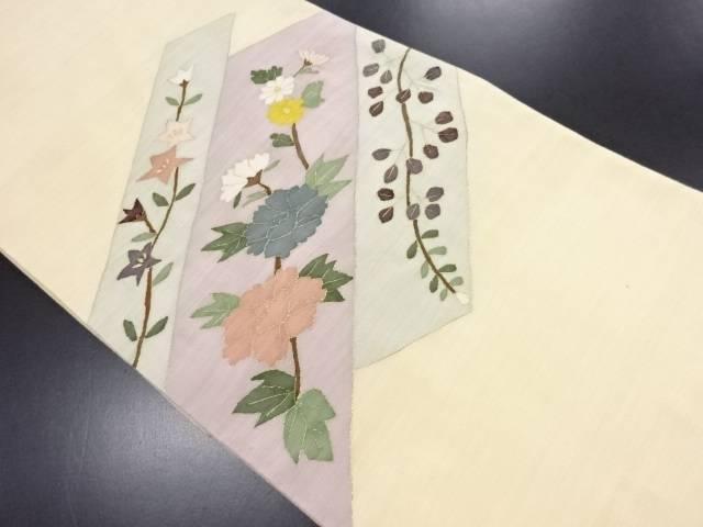 リサイクル 牡丹に秋草模様織り出し袋帯【送料無料】